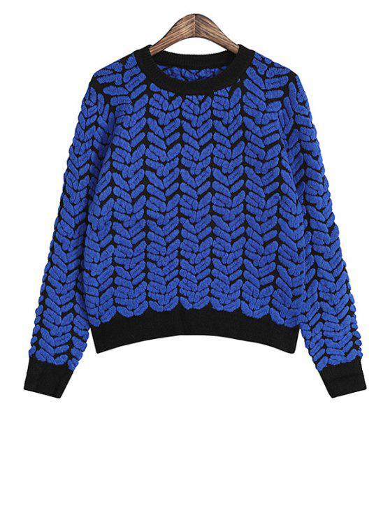 womens Jacquard Long Sleeve Sweater - BLUE S