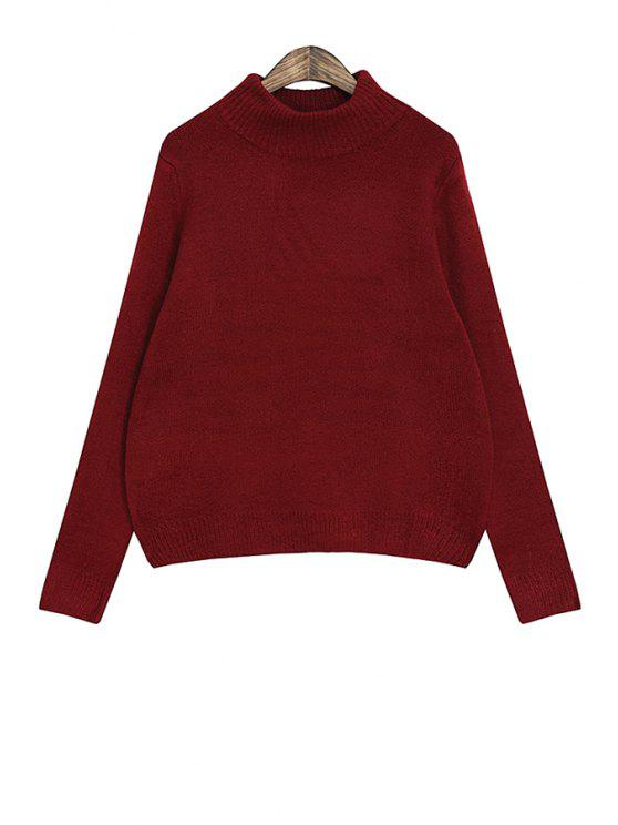 women's Solid Color Long Sleeve Women's Sweater - CLARET ONE SIZE(FIT SIZE XS TO M)