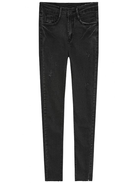 fashion Bleach Wash Vintage Jeans - DEEP GRAY S