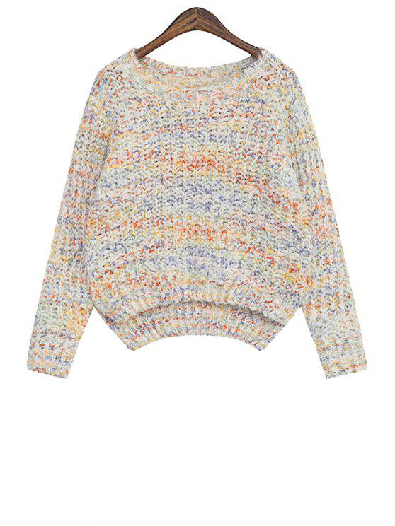 lady Color Mixed Asymmetrical Long Sleeve Sweater - APRICOT ONE SIZE(FIT SIZE XS TO M)