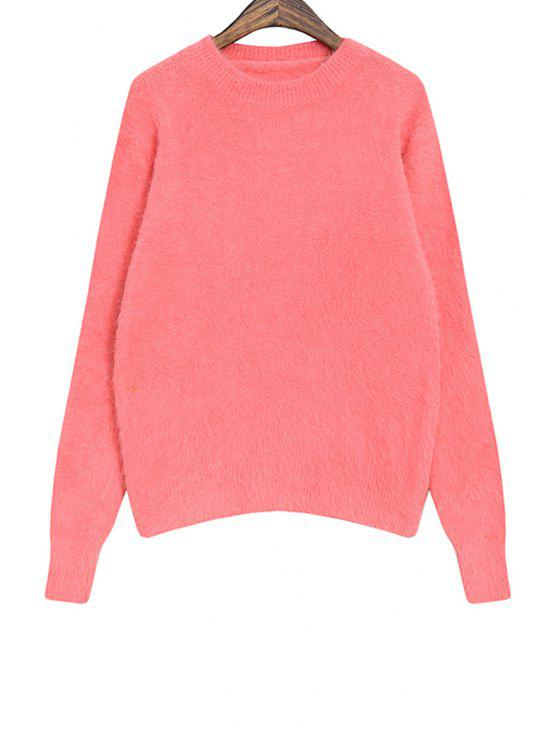 hot Long Sleeve Solid Color Sweater For Women - PINK ONE SIZE(FIT SIZE XS TO M)