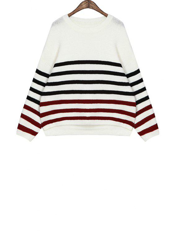 outfit Stripe Color Block Sweater - WHITE ONE SIZE(FIT SIZE XS TO M)