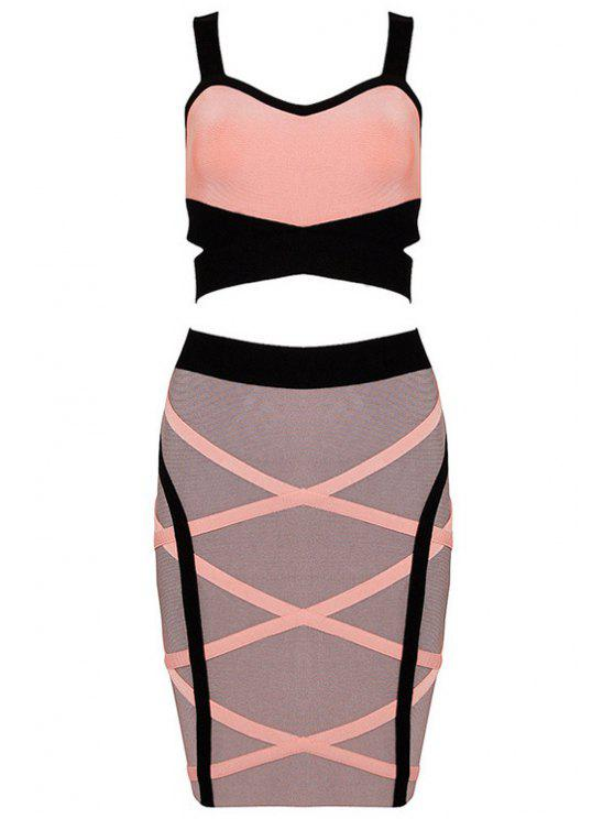 shops Color Block Crop Top and Bandage Skirt Suit - COLORMIX S