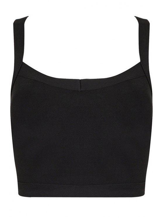 outfits Straps Black Bandage Crop Top - BLACK XS