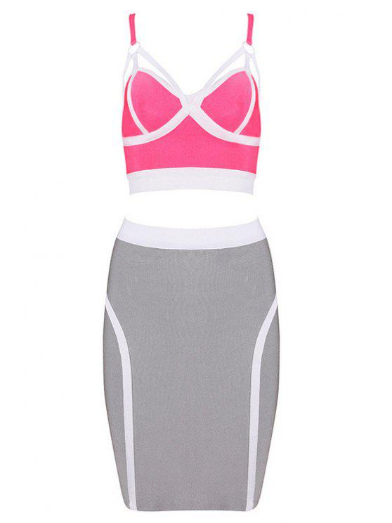 fashion Straps Crop Top and Bandage Skirt Suit - PINK XS