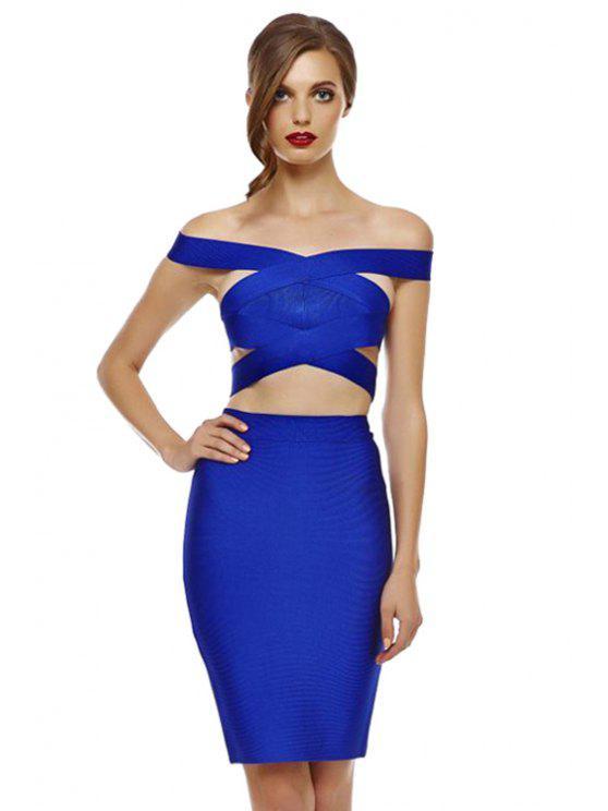 affordable Slash Neck Crop Top and Bandage Skirt Suit - SAPPHIRE BLUE S