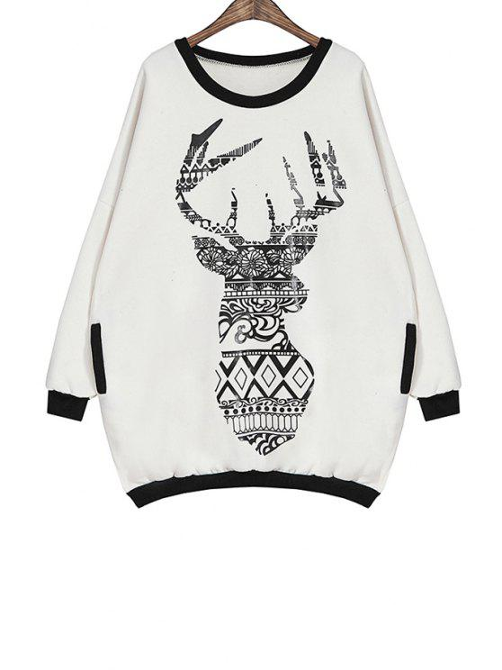 ladies Sika Deer Print Long Sleeve Sweatshirt - WHITE ONE SIZE(FIT SIZE XS TO M)