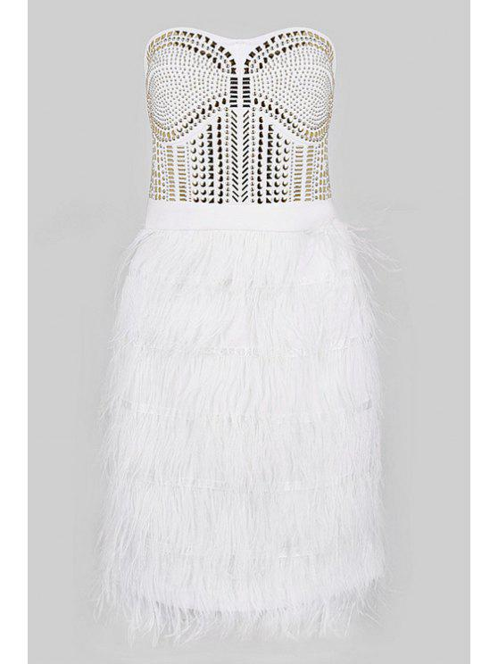 women's Feather Splicing Strapless Dress - WHITE M
