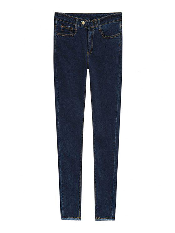 women Solid Color Stretchy Jeans - DEEP BLUE S