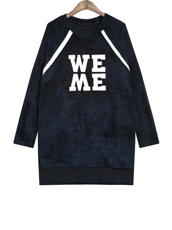 lady Letter Print Color Block Sweatshirt - BLACK ONE SIZE(FIT SIZE XS TO M)