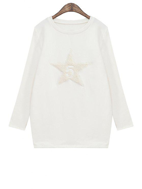 hot Star Pattern Long Sleeve Sweatshirt - WHITE ONE SIZE(FIT SIZE XS TO M)