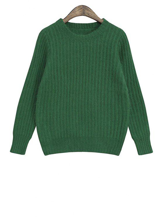 unique Solid Color Faux Fur Long Sleeve Sweater - GREEN ONE SIZE(FIT SIZE XS TO M)