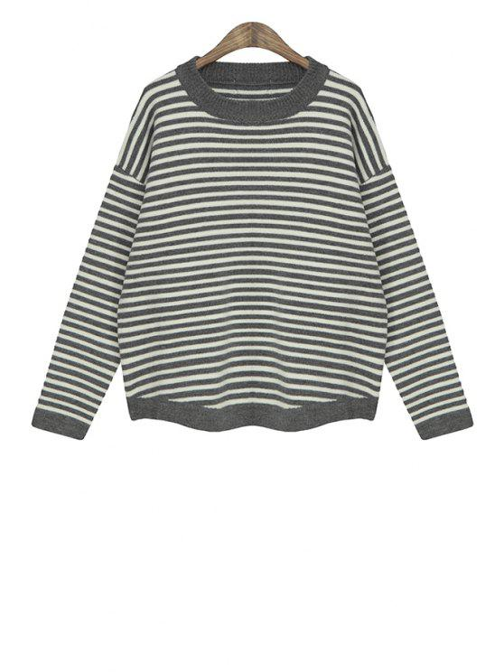 buy Color Block Stripe Splicing Sweater - GRAY ONE SIZE(FIT SIZE XS TO M)