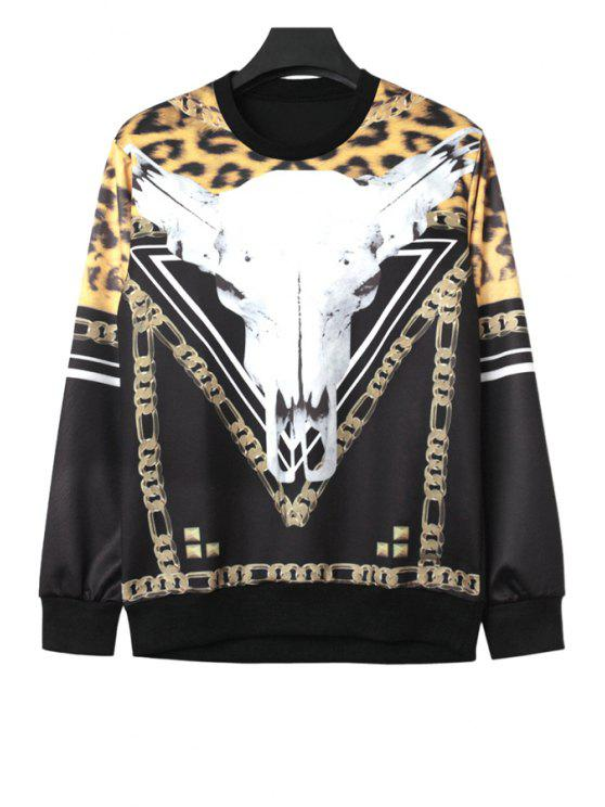 best Goat and Leopard Print Sweatshirt - BLACK ONE SIZE(FIT SIZE XS TO M)
