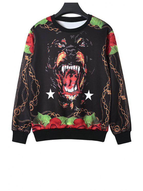 online Round Neck Dog Print Sweatshirt - BLACK ONE SIZE(FIT SIZE XS TO M)