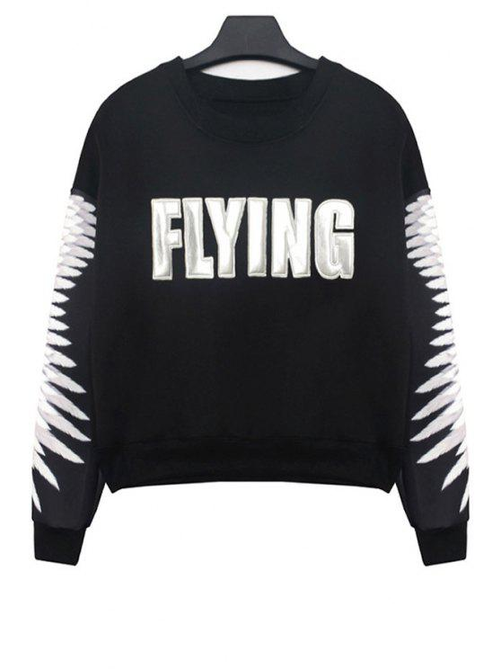 hot Letter Patch Design Sweatshirt - BLACK ONE SIZE(FIT SIZE XS TO M)