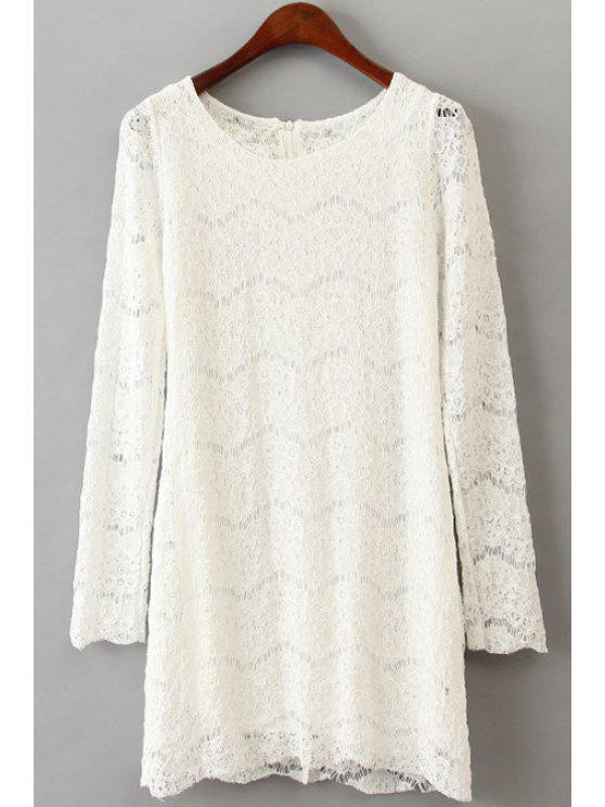 affordable Openwork Lace Long Sleeve Dress - WHITE ONE SIZE(FIT SIZE XS TO M)