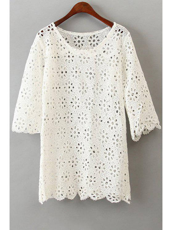 womens Openwork Lace Half Sleeve Dress - WHITE ONE SIZE(FIT SIZE XS TO M)