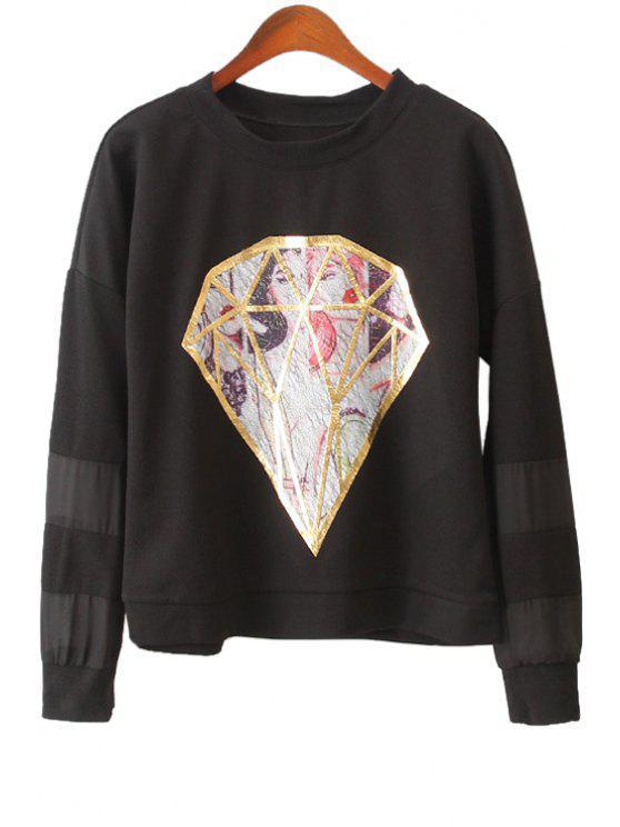 shops Diamond Pattern Long Sleeve Sweatshirt - BLACK ONE SIZE(FIT SIZE XS TO M)