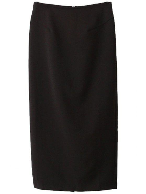 best Solid Color Back Slit Long Skirt - BLACK S