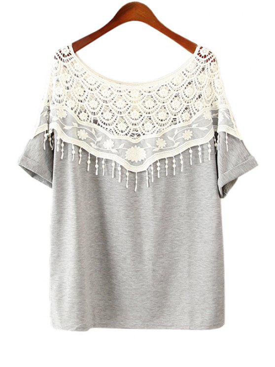 unique Slash Collar Lace Splicing Half Sleeve T-Shirt - GRAY ONE SIZE(FIT SIZE XS TO M)