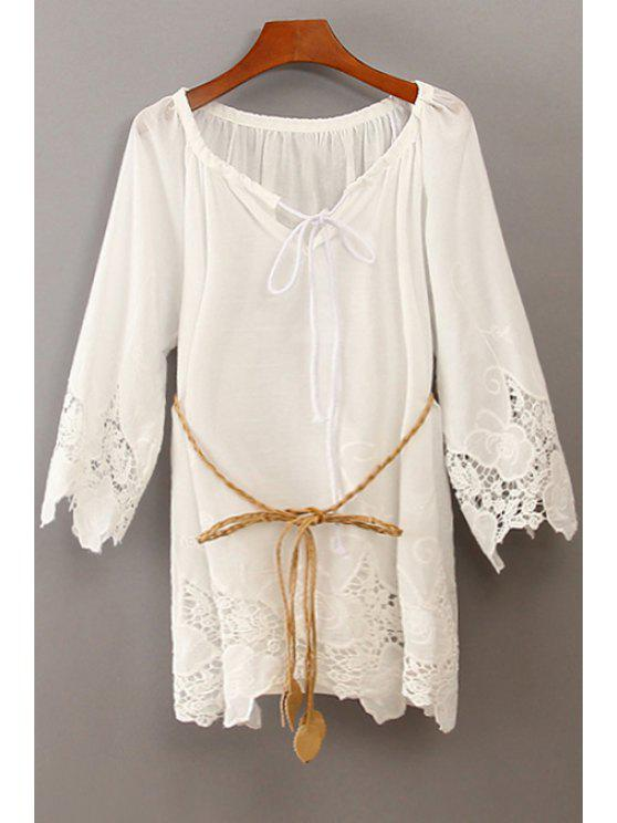 outfits Lace Splicing Tie-Up 3/4 Sleeve Shirt - WHITE ONE SIZE(FIT SIZE XS TO M)