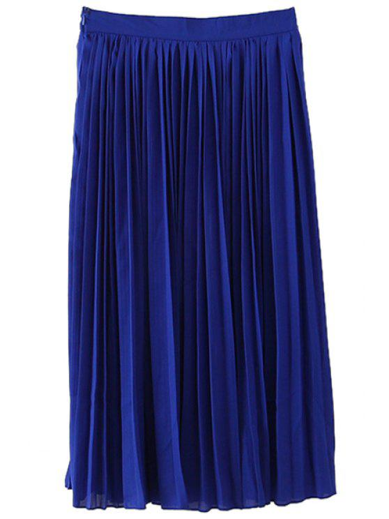 womens Chiffon Long Pleated Skirt - BLUE S