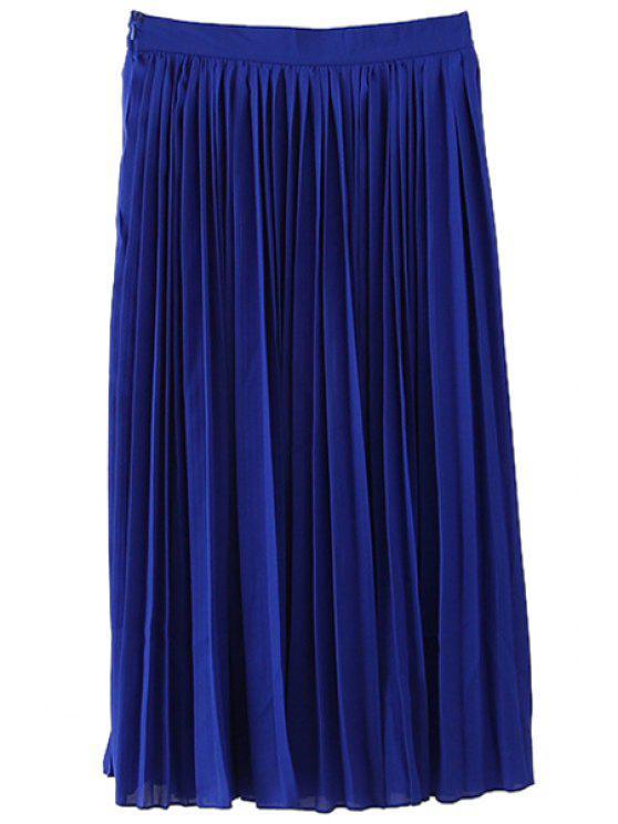 womens Chiffon Long Pleated Skirt - BLUE S