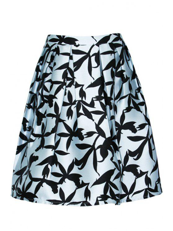 outfits Full Floral Print A-Line Skirt - LIGHT BLUE S