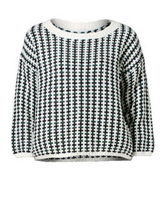 hot Checked 3/4 Sleeve Sweater - GREEN ONE SIZE(FIT SIZE XS TO M)