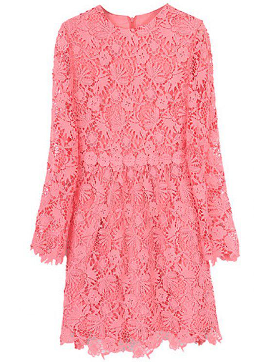 shops Solid Color Lace Dress - WATERMELON RED S