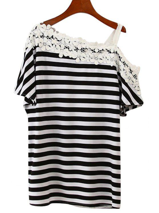 lady One-Shoulder Lace Splicing Stripe T-Shirt - STRIPE ONE SIZE(FIT SIZE XS TO M)