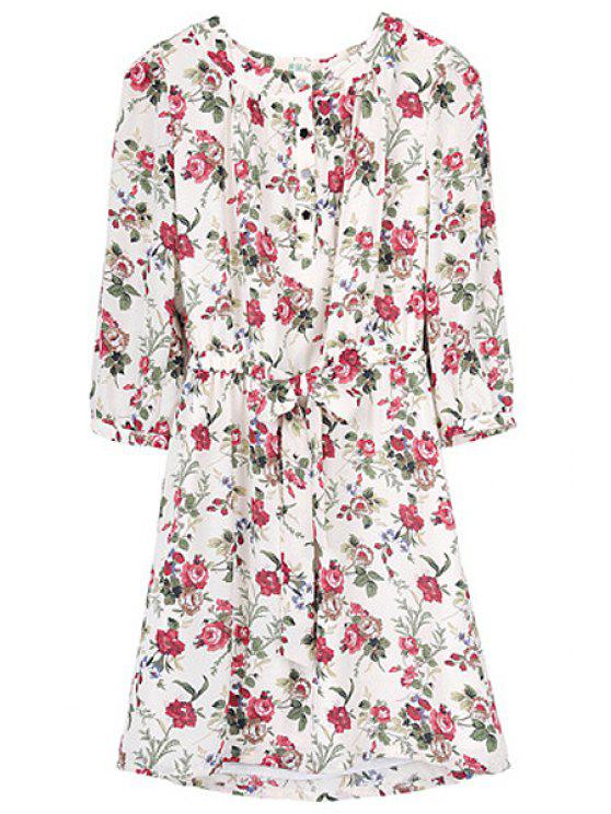 women's Tiny Floral 3/4 Sleeve Dress - APRICOT XS