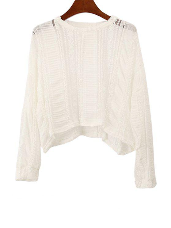 best Lace Openwork Solid Color T-Shirt - WHITE ONE SIZE(FIT SIZE XS TO M)
