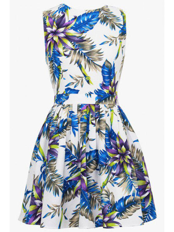 shop A-Line Floral Print Sundress - WHITE S