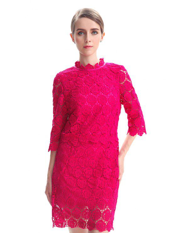 fashion Hollow Half Sleeve Lace Dress - PLUM S