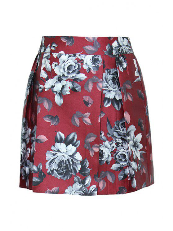 ladies Floral Pattern High Waistd Skirt - RED S