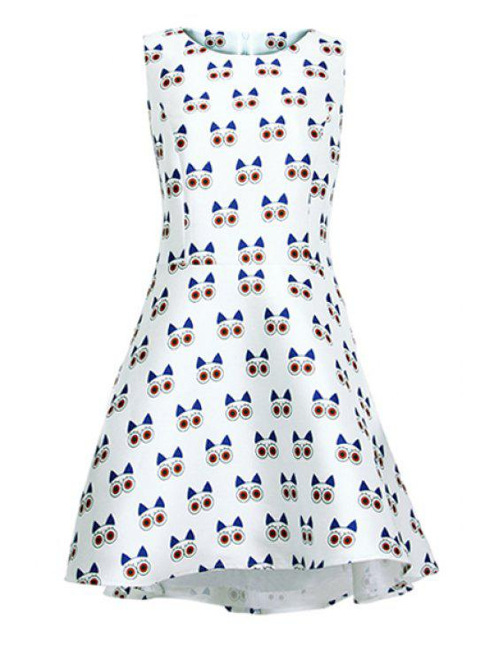 affordable Full Cartoon Print Sundress - WHITE S