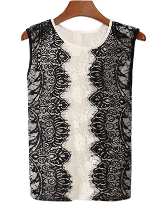 buy Lace Splicing See-Through Tank Top - WHITE AND BLACK ONE SIZE(FIT SIZE XS TO M)