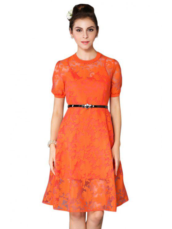unique Floral Short Sleeve Voile Dress - ORANGE M