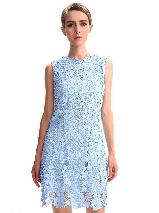 women's Hollow Round Neck Lace Sundress - LIGHT BLUE M
