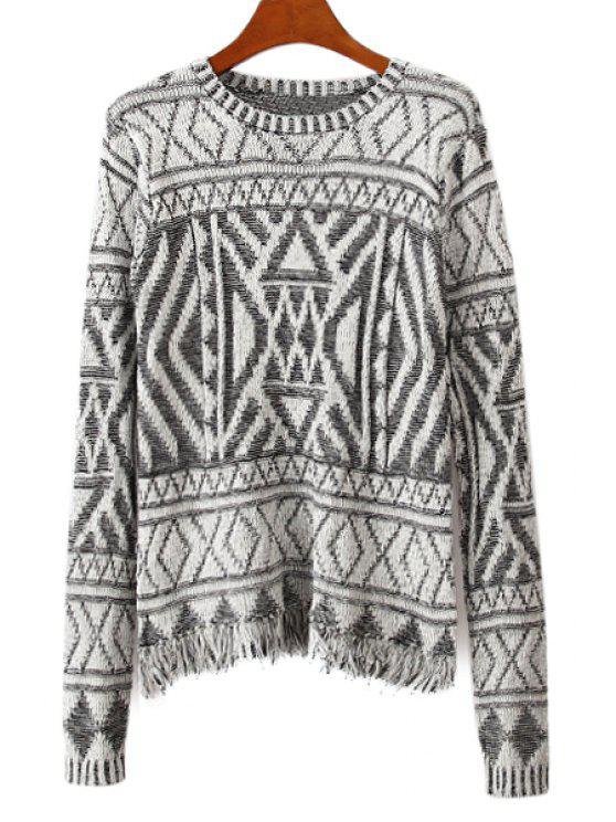new Argyle Fringe Long Sleeve Sweater - WHITE AND BLACK ONE SIZE(FIT SIZE XS TO M)