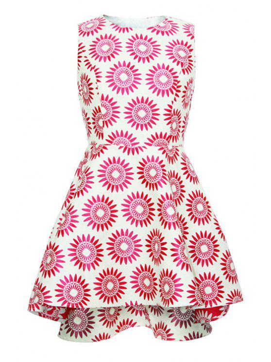 ladies Flower Pattern A-Line Sundress - RED S