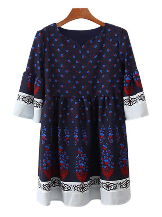 women's Sweetheart Neckline Floral Print Dress - BLUE ONE SIZE(FIT SIZE XS TO M)