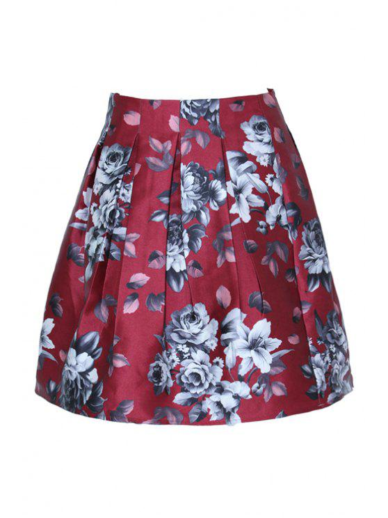 ladies Floral Pattern Pleated kirt - RED S