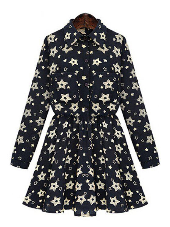 lady Full Star Print Long Sleeve Dress - BLACK 3XL
