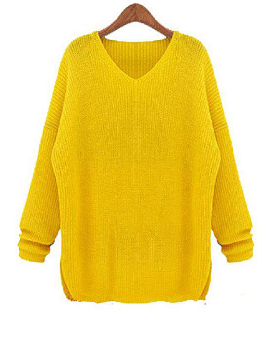 chic Solid Color V-Neck Knitwear - YELLOW L