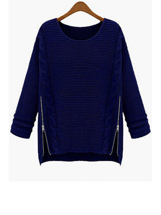 lady Solid Color Zipper Sweater - BLUE L