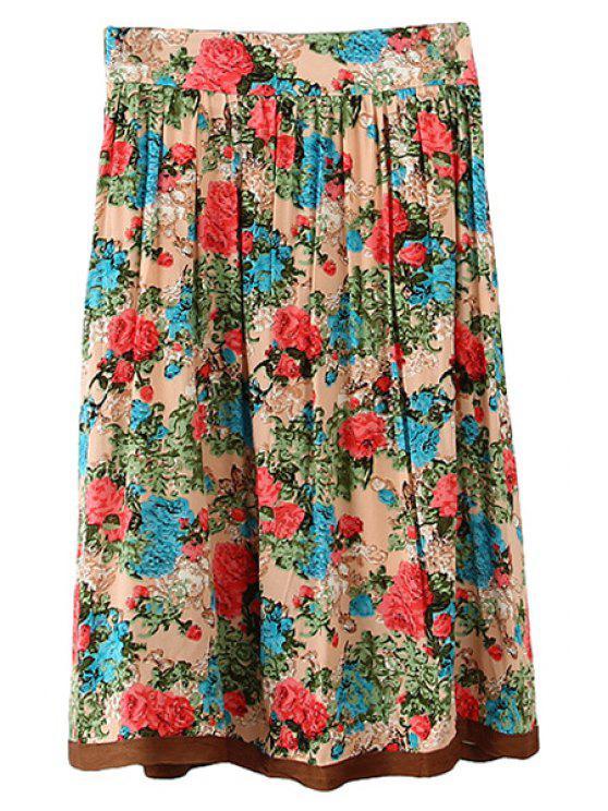 unique Floral Print Long Pleated Skirt - COLORMIX S