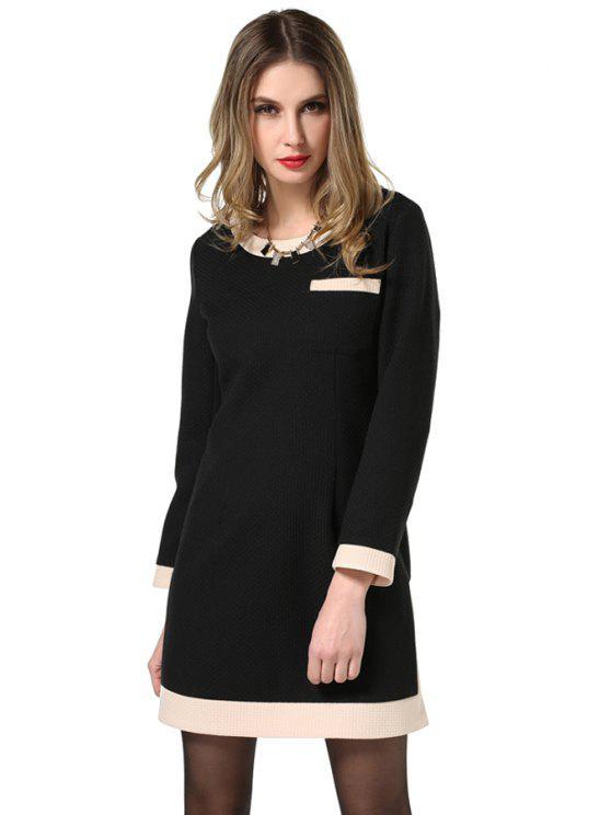shop Scoop Neck Color Block Dress - BLACK L